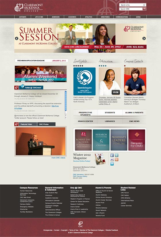 Screenshot of the newly designed and launched cmc.edu