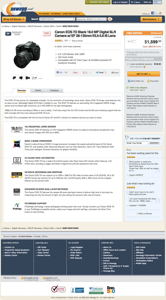 Screenshot of the design refresh of newegg.com product page